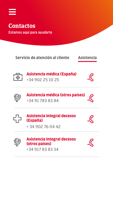 Contact screen in mobile version of western catalana