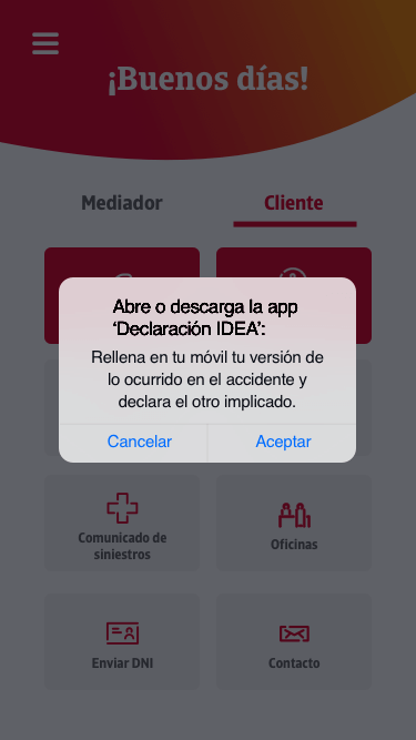 Home screen with a modal in the mobile version of western Catalan