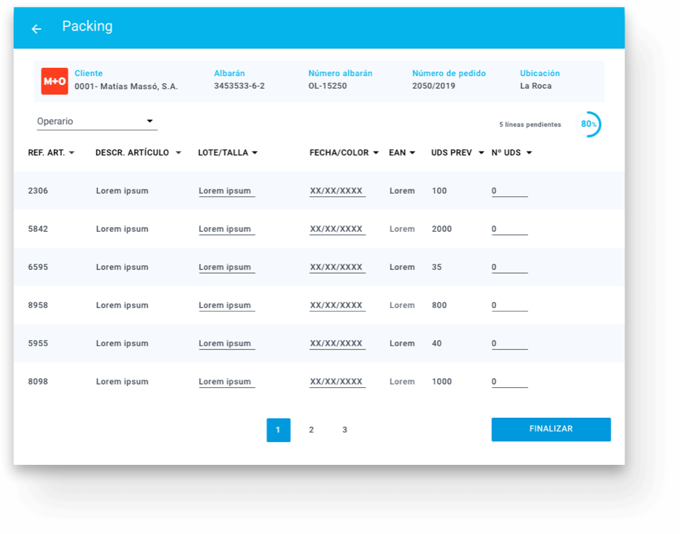 Vivaces application screen for packing management