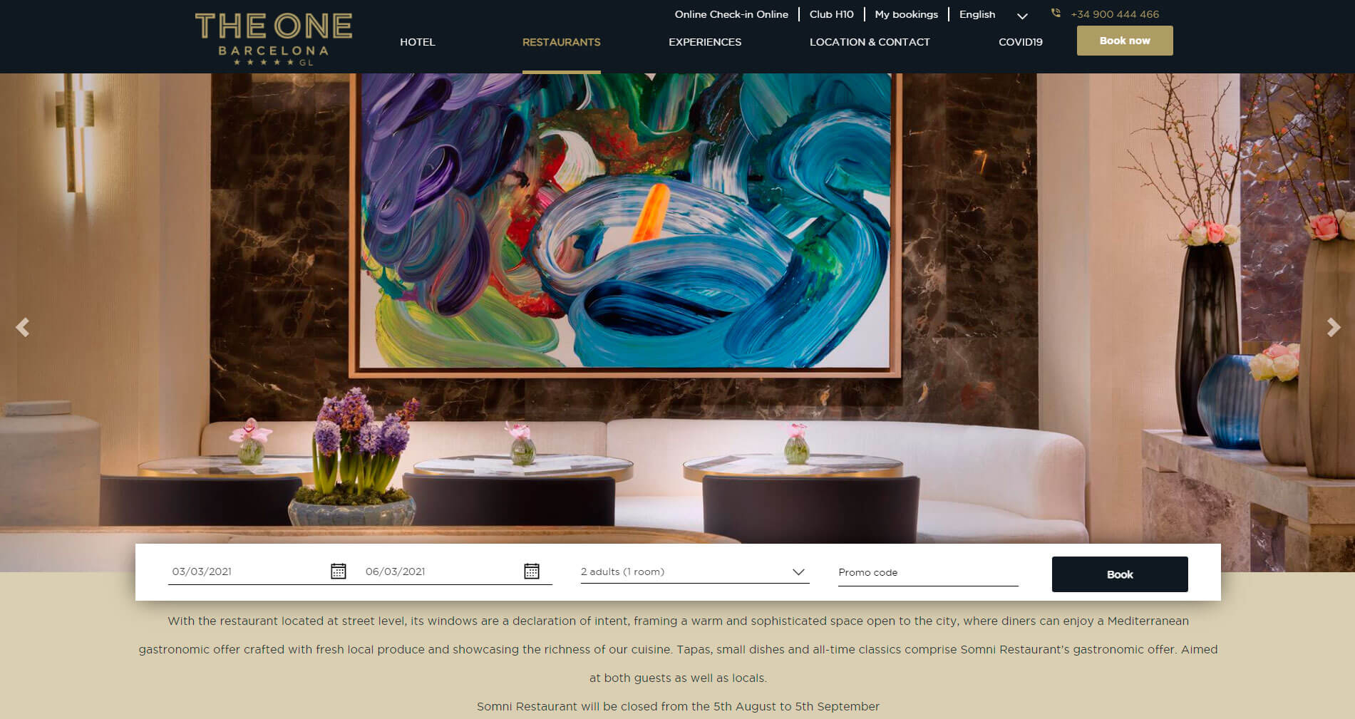 Restaurants Page within The One Barcelona Hotels