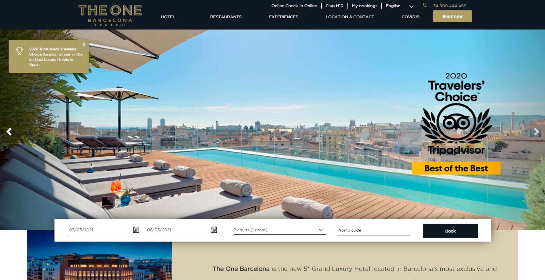 The One Barcelona Hotels Home Page